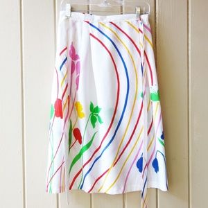 Vintage 70s 80s Happy Wrap Skirt S M